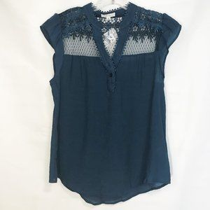 New- MINE Blue Lace & Embroidered Cap Sleeve Top